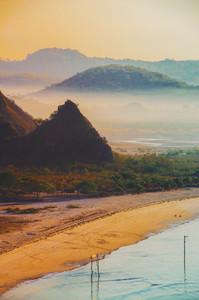 Misty hilly sea coast