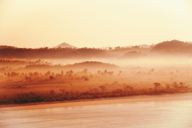 Misty hilly sea coast  Indonesia