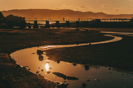 Old bridge at sunset