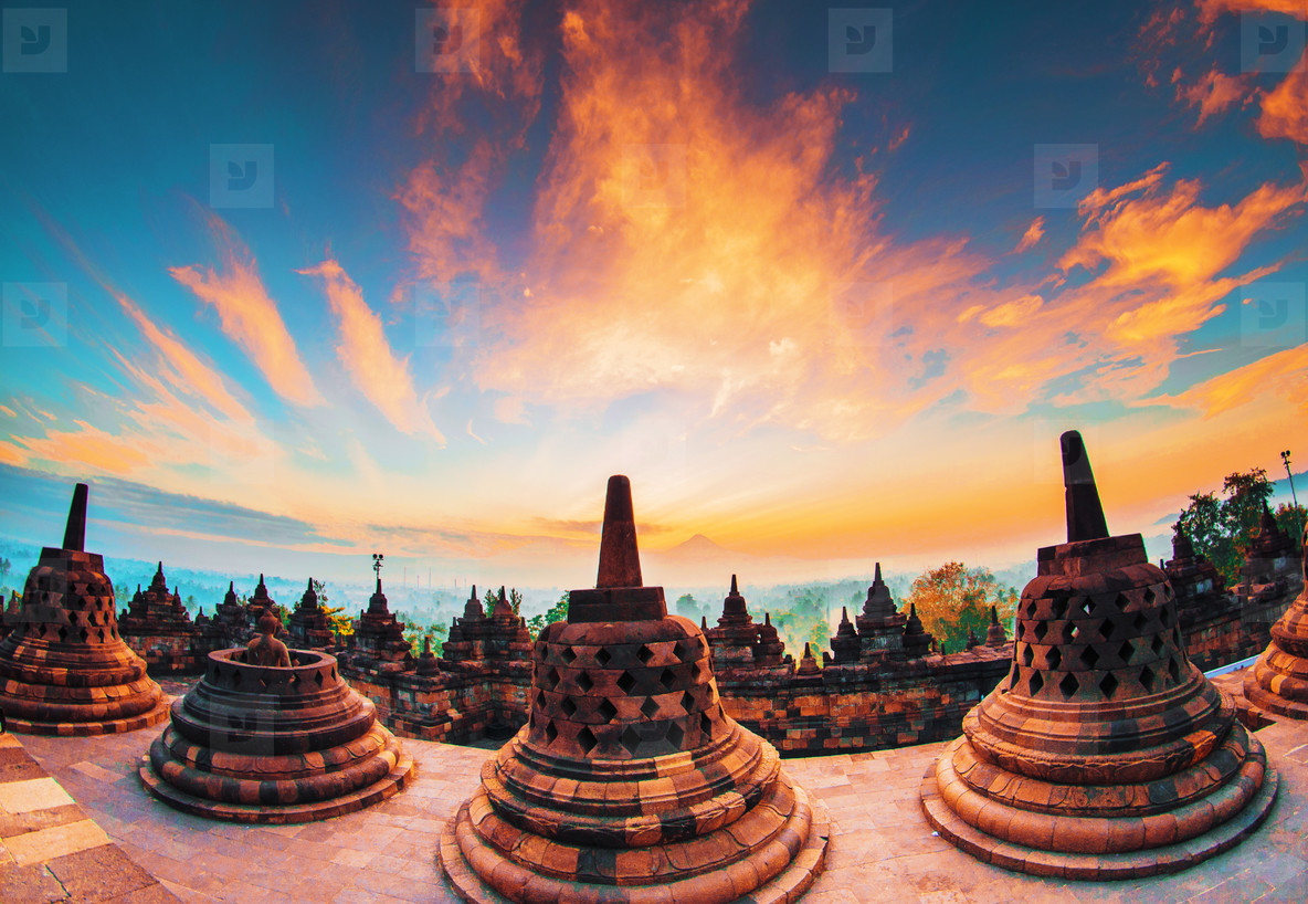Borobudur temple at sunset