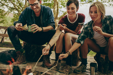 Friends toasting food on bonfire in the countryside