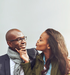 Loving African American couple on a date