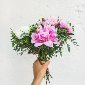 Bouquet of pink and white peony flowers  square crop