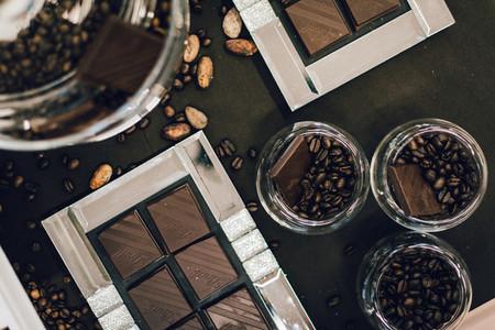 Dark chocolate and coffee beans