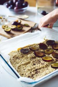 Baking a plum cake