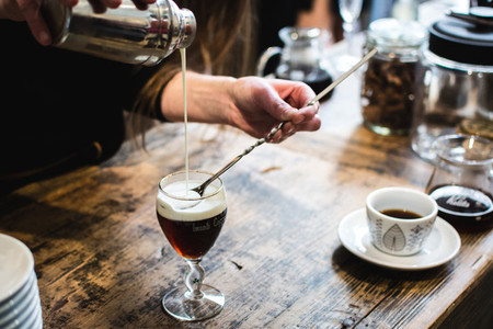Bartender preparing coffee drink