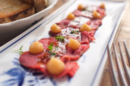 Beef sashimi close up