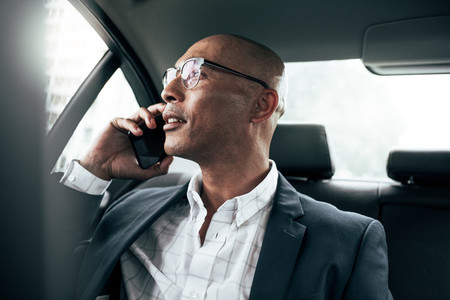 Businessman talking on mobile phone sitting in car