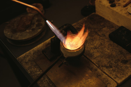 Melting silver in a small crucible