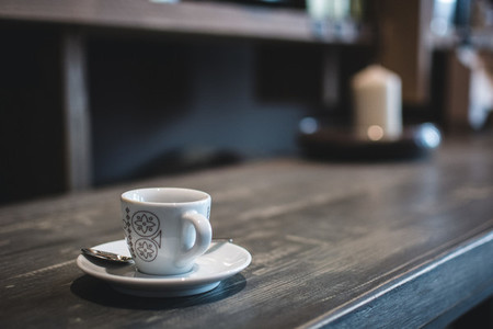 Espresso cup on desk