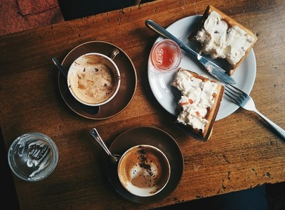 Coffee break with waffles