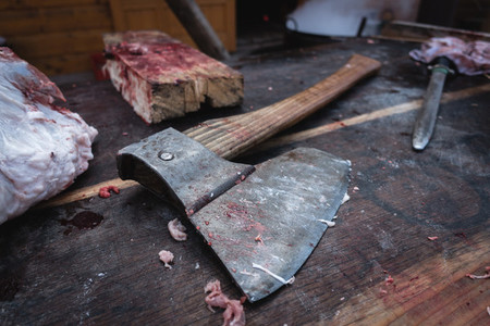 Butchers axe close up