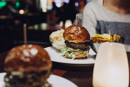 Celebrating with a beef burger