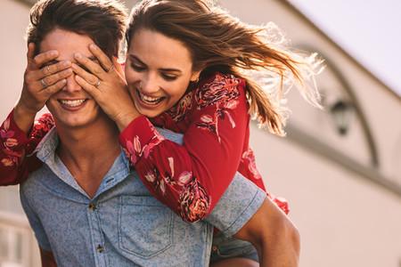 Happy couple enjoying outdoors