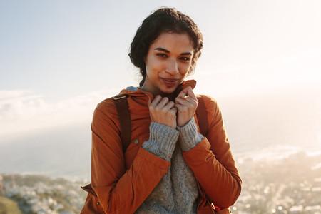 Female backpack traveller