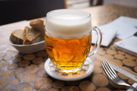 Czech tapped beer with bread