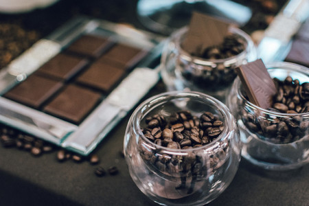 Dark chocolate bar  coffee bean