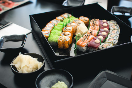 Colorful sushi set