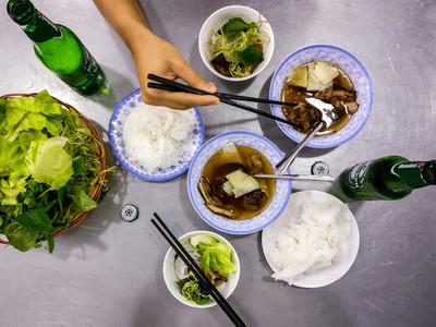 Eating delicious Vietnamese food