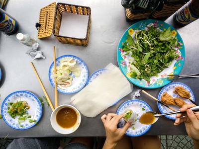 Eating fresh Vietnamese food