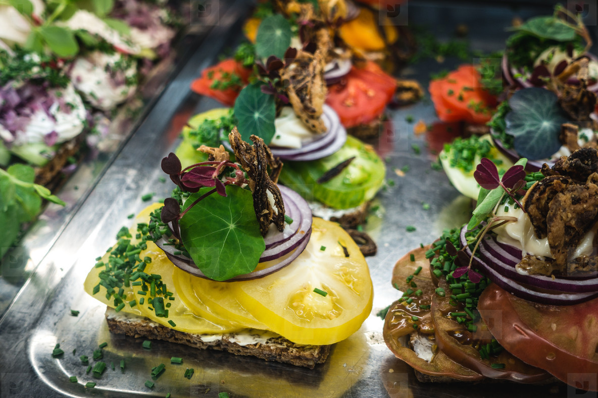 Colorful appetizers on plate