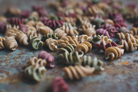Colorful pasta fusili detail