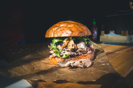 Confited duck burger