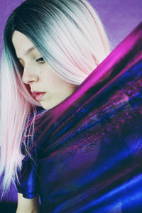 Young cool woman with pink hair