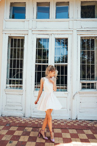 beautiful young girl posing outdoors