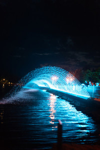 City evening fountain