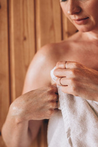 Close up of a woman wearing towel