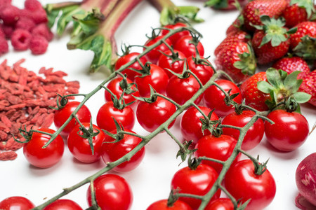 Cherry tomatoes and other red fr