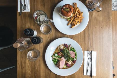 Dinning burger and grilled pork