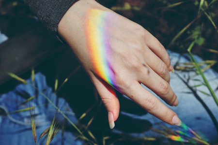 Rainbow in a hand
