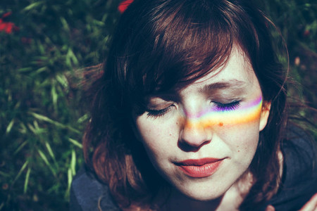 Woman with a rainbow