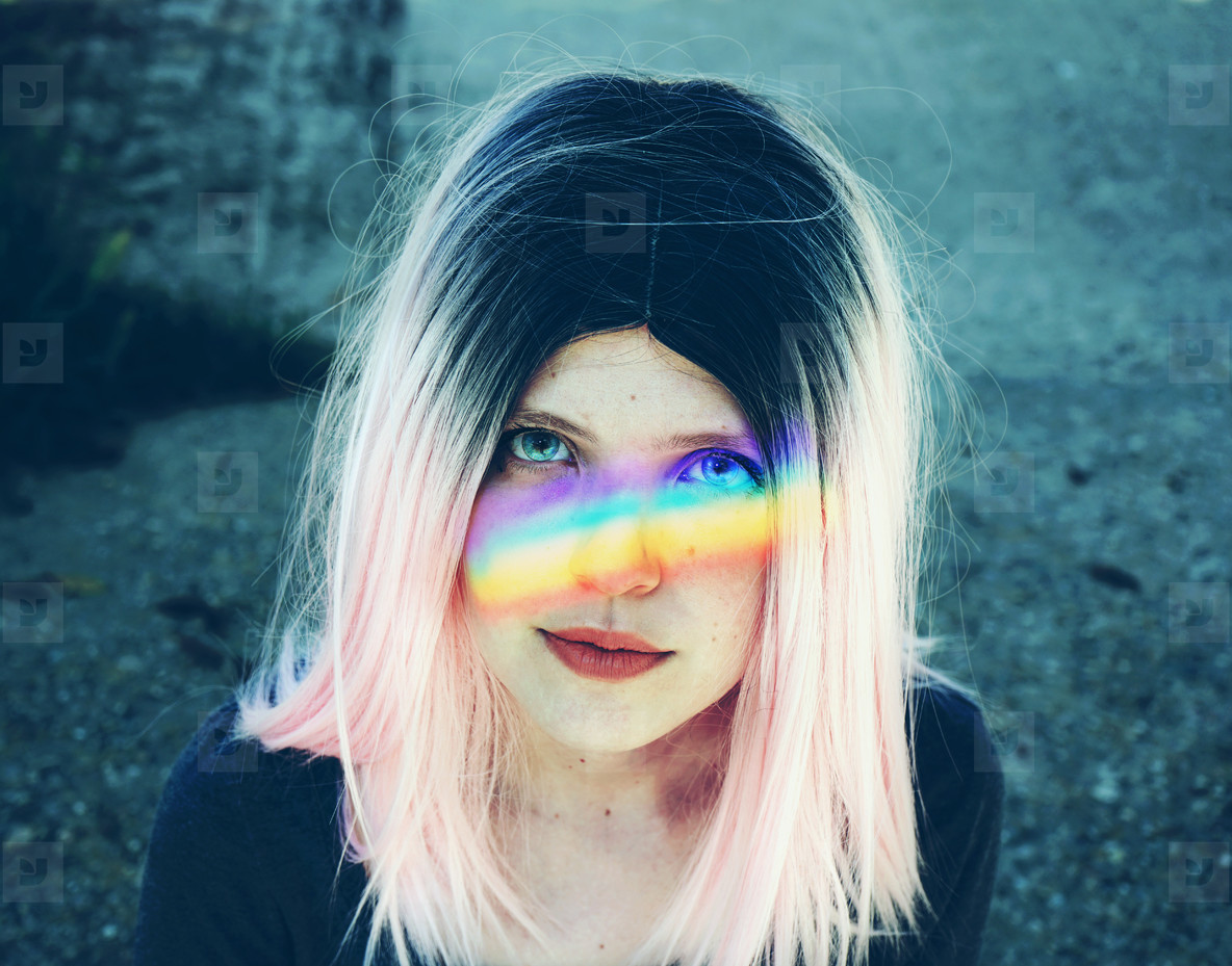 woman with a rainbow in her face