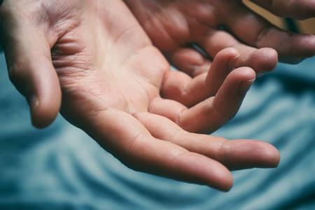 Close up of man hands