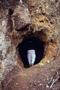 Man in a cave