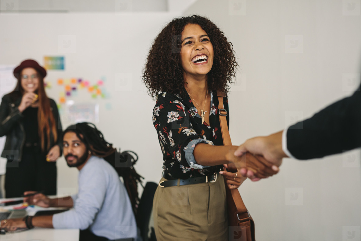 Smiling businesswoman shaking hands with a business person