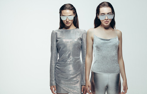 Female models in futuristic look