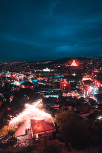 Big old city at night  Tbilisi