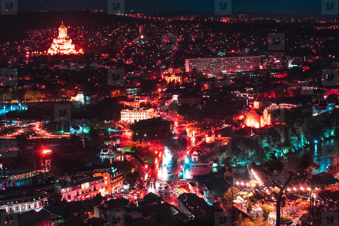 Big old city at night  Tbilisi