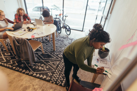 Startup employee writing project plan on board