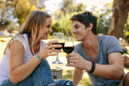 Happy couple on picnic sitting in a park drinking wine