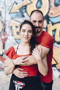 Portrait of a couple of aerial dancers after performing a choreography