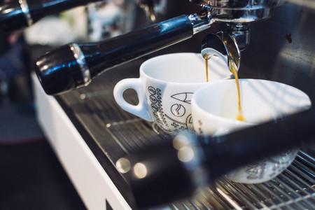 Espresso dripping from portafilt