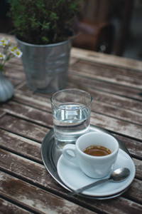 Espresso on a wooden table