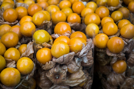 Exotic physalis fruit on a marke
