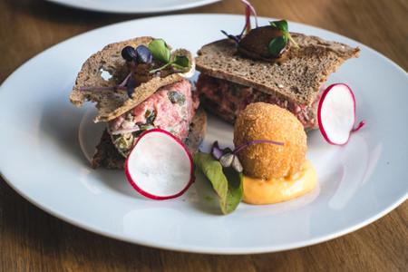 Fancy steak tartare in restauran
