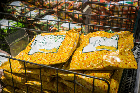 Frozen sweet corn in supermarket
